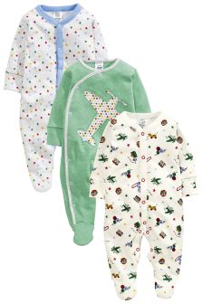 Green Aeroplane Print Sleepsuits Three Pack (0mths-2yrs)