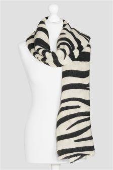 Monochrome Zebra Print Scarf