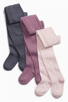 Purple Cable Tights Three Pack (0mths-6yrs)