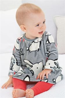 Grey Bunny Print Velour Dress And Footless Tights Set (0mths-2yrs)
