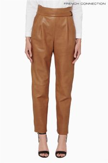 French Connection Tan Goldenburg Leather Trouser
