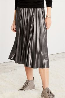 Pewter Pleated Skirt