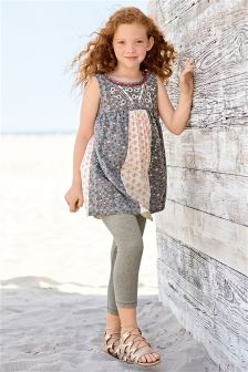 Multi Mix Print Tunic And Leggings Set (3-16yrs)