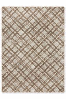 Wool Diagonal Natural Check Rug