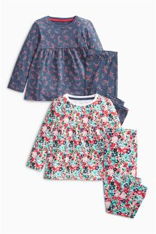 Navy Floral Pyjamas Two Pack (9mths-8yrs)