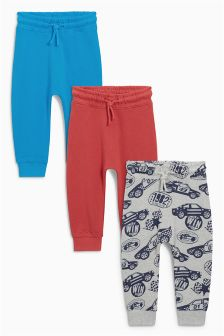 Red/Blue Car All-Over Print Joggers Three Pack (3mths-6yrs)