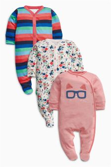 Bright Cat Stripe Sleepsuits Three Pack (0mths-2yrs)
