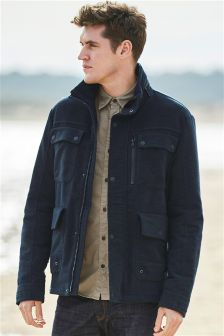 Navy Four Pocket Moleskin Jacket