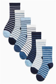 White/Blue Stripe Socks Seven Pack (Older Boys)