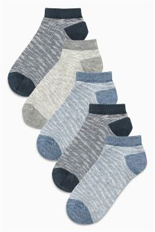 Blue Textured Trainer Socks Five Pack (Older Boys)