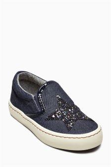 Navy Star Skate Shoes (Older Girls)