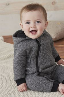 Grey Quilted Romper (0mths-2yrs)
