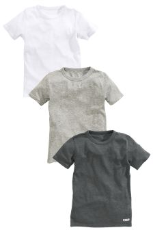 Grey/White Ribbed T-Shirts Three Pack (1.5-16yrs)