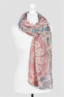 Neutral Mosaic Effect Print Scarf