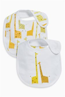White Giraffe Regular Bibs Two Pack