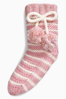Knitted Slipper Socks (Older Girls)