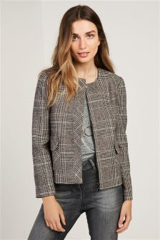 Black/White Brushed Check Jacket