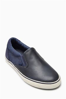 Navy Slip On Shoes (Older Boys)
