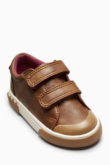 Tan Touch Strap Character Shoes (Younger Boys)