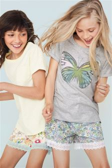 Grey/Yellow Butterfly Floral Pyjama Shorts Two Pack (3-16yrs)