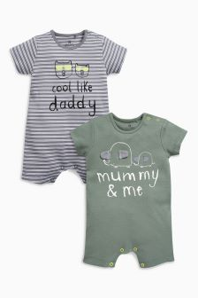 Khaki Mummy And Daddy Short Leg Rompers Two Pack (0mths-2yrs)