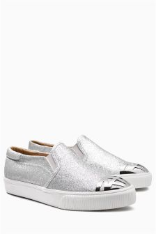 Shimmer Slip-On Toe Cap Detail Skaters
