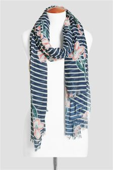 Ecru/Navy Floral Stripe Scarf