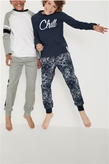 Navy/Grey 'Chill' Jogger Pyjamas Two Pack (3-16yrs)