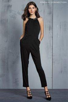 French Connection Black Diamond Drape Halter Neck Jumpsuit