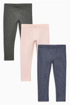 Pink/Grey Leggings Three Pack (3mths-6yrs)