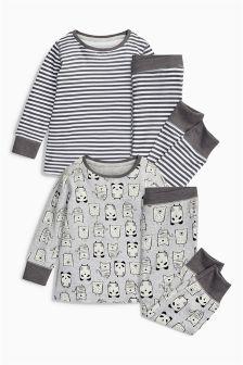 Grey Panda And Stripe Snuggle Pyjamas Two Pack (9mths-8yrs)