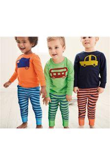 Multi Bright Transport Snuggle Fit Pyjamas Three Pack (9mths-8yrs)