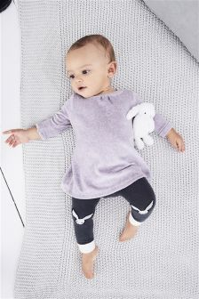 Lilac Dress And Footless Tights Set (0mths-2yrs)
