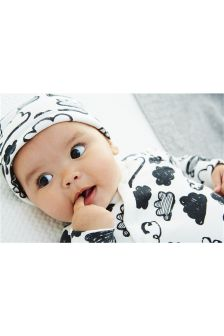 Grey Cloud Print Sleepsuit Two Pack And Reversible Hat (0mths-2yrs)