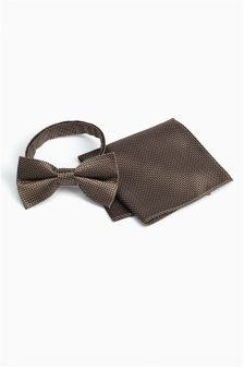 Gold Silk Bow Tie And Pocket Square Set
