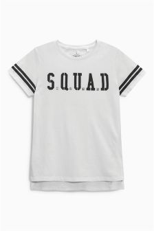 White Longline Squad T-Shirt (3-16yrs)
