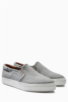 Grey Felt Skater Shoes