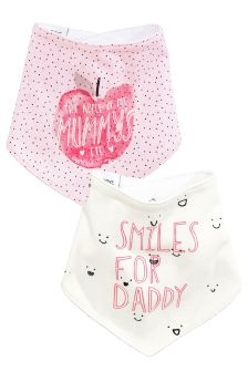 Ecru/Pink Mummy And Daddy Apple Dribble Bibs Two Pack