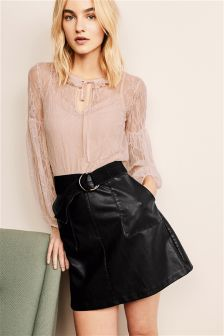 Black Leather Look A-Line Skirt