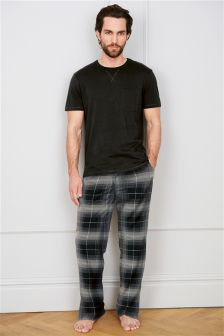 Black And Grey Check Woven Long Set