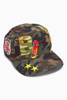 Khaki Camo Badge Cap (Older Boys)