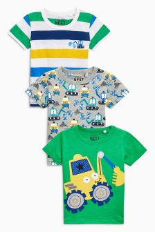 Green Short Sleeve Digger T-Shirts Three Pack (3mths-6yrs)