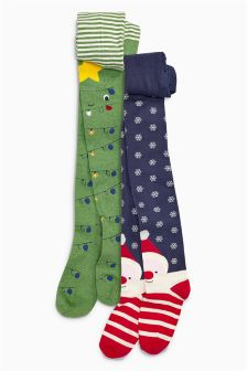 Navy Christmas Character Tights Two Pack (3-16yrs)