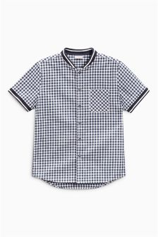 Navy Short Sleeve Gingham Baseball Shirt (3-16yrs)