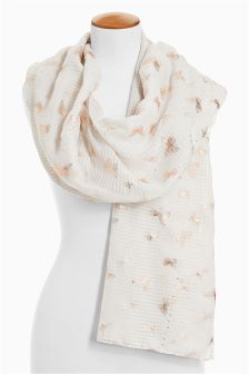 Pink Creature Foil Print Scarf