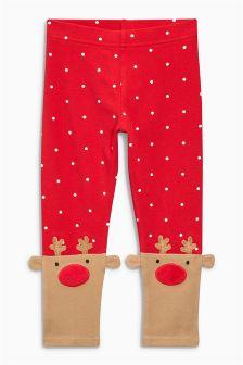 Red Reindeer Leggings (3mths-6yrs)