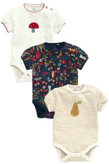Navy/Red Short Sleeve Floral Print Bodysuits Three Pack (0mths-2yrs)