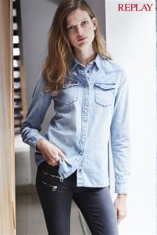 Replay® Blue Snapbutton Denim Shirt