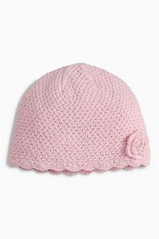 Pink Knitted Hat (0mths-2yrs)