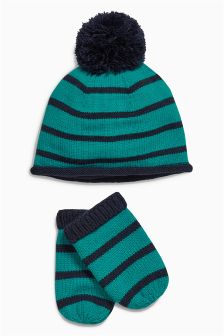 Teal Stripe Hat And Mitts Set (0mths-2yrs)